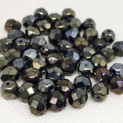 50 Bronze Iris Purple Czech Faceted Glass Beads