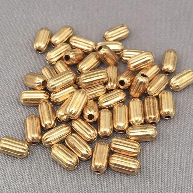 25 Vintage Brass Corrugated Metal Oval Beads