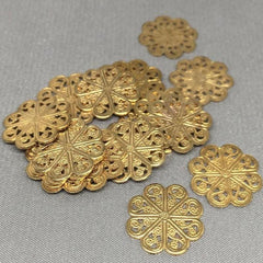 10 Vintage Solid Fancy Brass Filigree Metal Findings