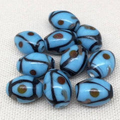 10 Vintage Turquoise Abstract Oval Glass Beads 14mm