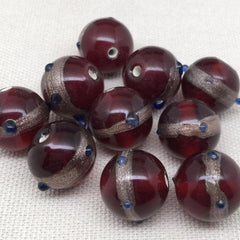 10 Vintage Handmade Red Round Aventurine Glass Beads