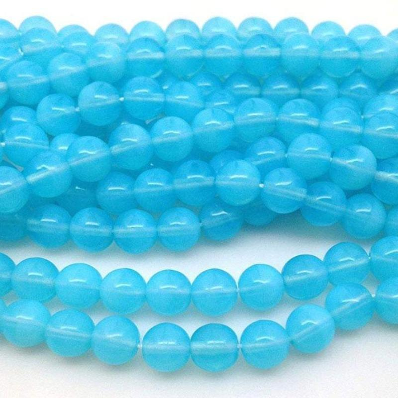 25 Vintage Turquoise Opalescent Czech Glass Beads