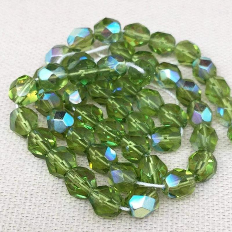 50 AB Olivine Green Czech Faceted Glass Beads