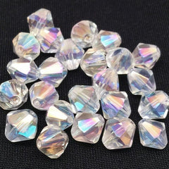 25 Vintage AB Clear Faceted Bicone Glass Beads