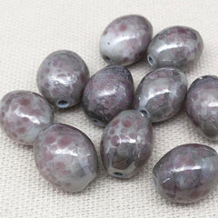 10 Vintage Handmade Mottled Gray Pink Oval Glass Beads