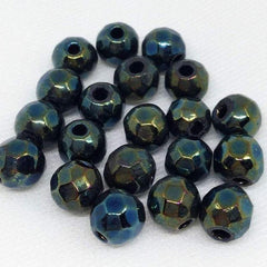 20 Vintage Metallic Iris Green Faceted Round Glass Beads