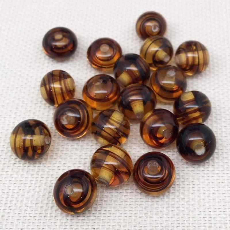 20 Vintage Golden Yellow Brown Striped Japan Round Glass Beads