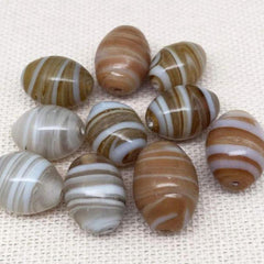 10 Vintage Brown Striped Oval Glass Beads