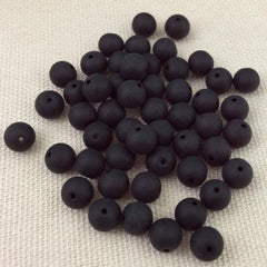 50 Garnet Matte Czech Round Glass Beads