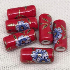 6 Vintage Red Japan Floral Porcelain Tube Beads Beads