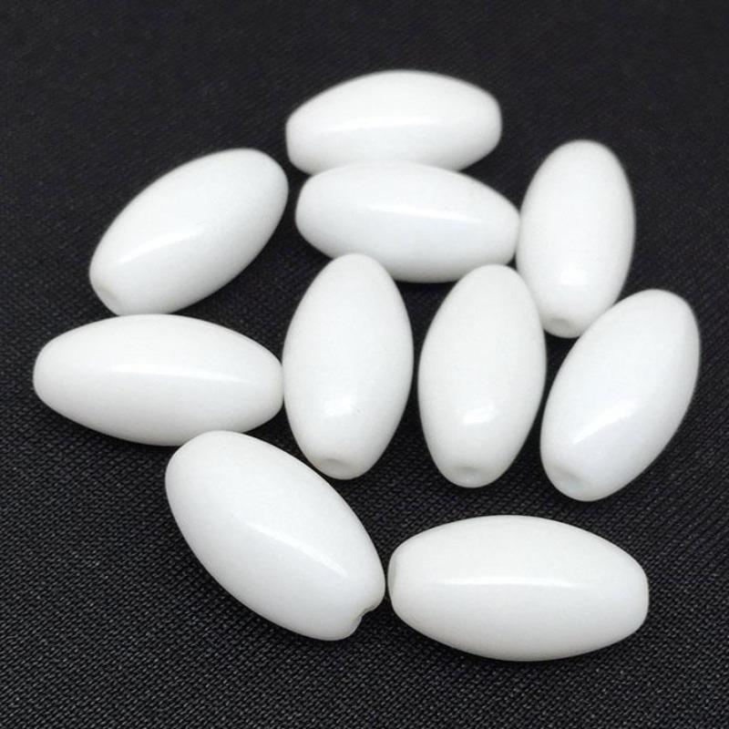 10 Vintage White Czech Oval Glass Beads