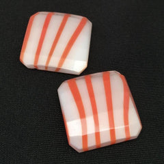 2 Vintage Milky White Red Orange Square Glass Cabochons