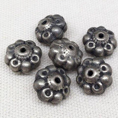 6 Vintage Silver Light Weight Floral Metal Beads