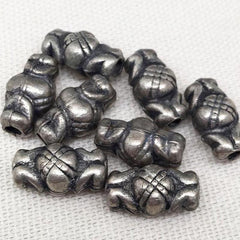 8 Vintage Light Weight Silver Metal Beads