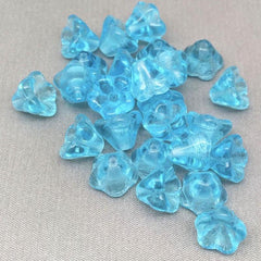 25 Translucent Turquoise Czech Bell Flower Glass Beads