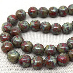 25 Red Picasso Czech Round Glass Beads