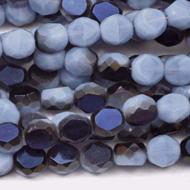 20 Azure Opal Gray Blue Czech Round Coin Glass Beads