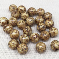 25 Golden Brown Picasso Czech Round Glass Beads