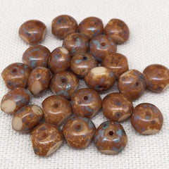 25 Cream Brown Picasso Quadrie Rondelle Glass Beads