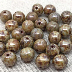 25 Matte Brown Picasso Czech Round Glass Beads
