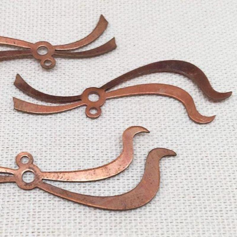 10 Vintage Copper Plated Ribbon Metal Findings