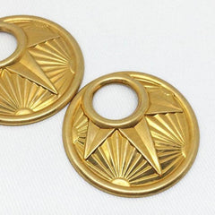 2 Vintage Domed Brass Round Art Deco Metal Pendants