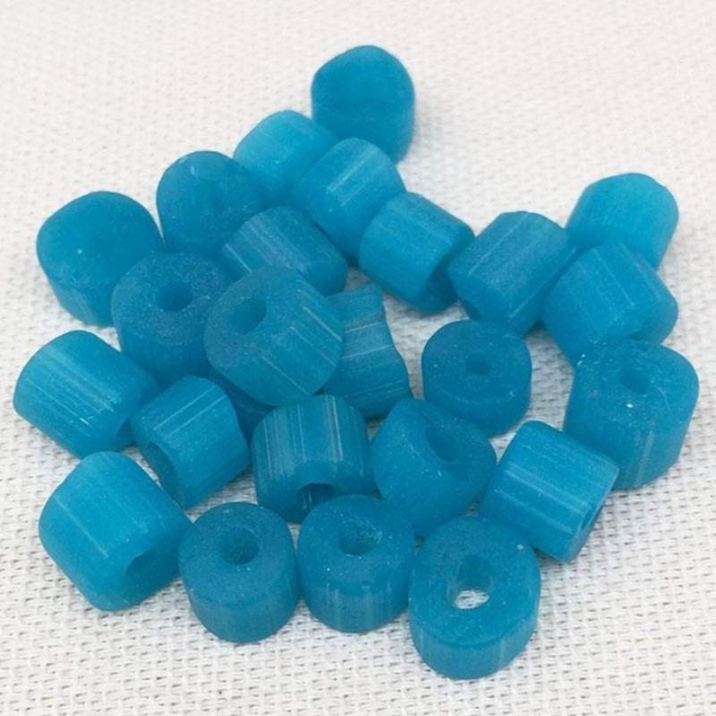 25 Vintage Mixed Frosted Aqua Blue Cane Glass Beads