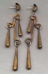 2 Vintage Brass Dangle Earrings for Repurpose