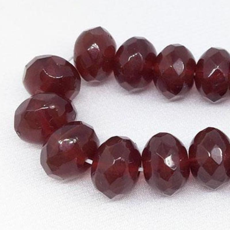 25 Rich Red Carnelian Czech Faceted Rondelle Glass Beads