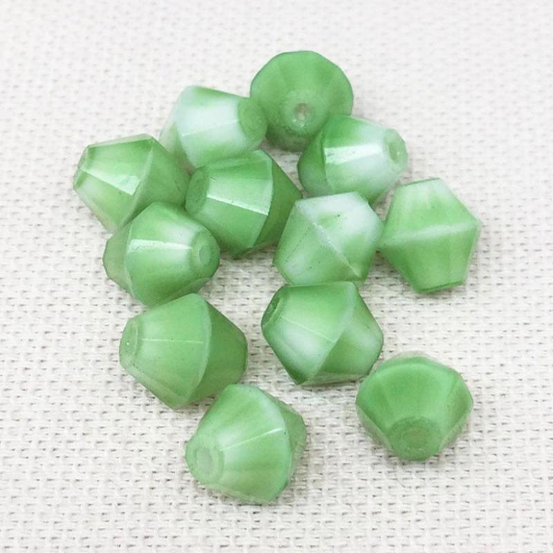 12 Vintage White Green German Givre Bicone Glass Beads