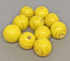 9 Vintage Handmade Striped Yellow Round Glass Beads