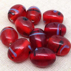 10 Vintage Translucent Striped Red Oval Glass Beads