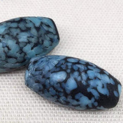 1 Vintage Handmade Black Mottled Blue Japan Oval Glass Bead