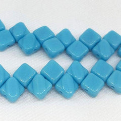 40 Turquoise Blue Czech Two Hole Glass Beads