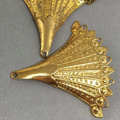 2 Vintage Arched Fancy Brass Fan Metal Pendants