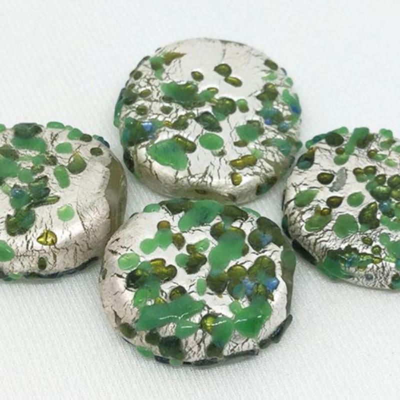 4 Vintage Mottled Green Silver Foil Japan Glass Beads
