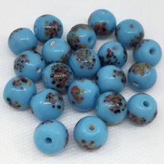 25 Vintage Turquoise Millefiori Round Japan Glass Beads