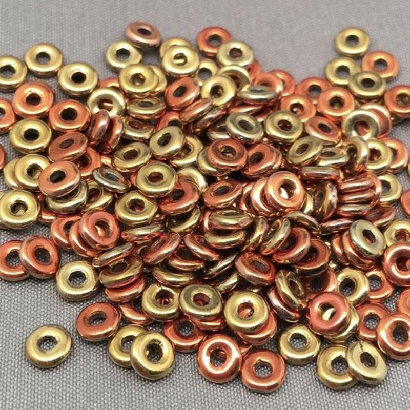 "5 Grams Metallic Gold Orange Czech ""O"" Ring Glass Beads"