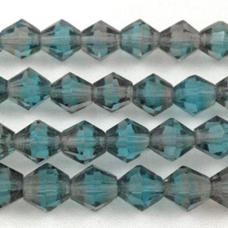 12 Vintage Aqua Blue Givre German Bicone Glass Beads
