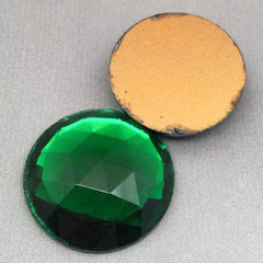 1 Vintage Green German Faceted Round Glass Cabochon