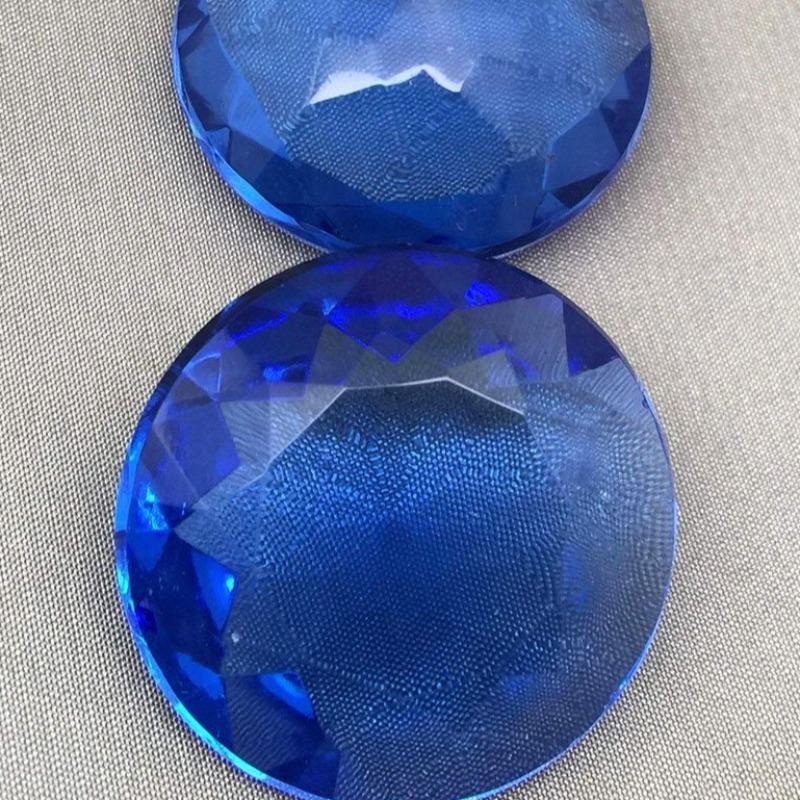 1 Vintage Large Blue Czech Faceted Round Glass Stone