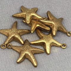 10 Vintage Hollow Star Fish Brass Metal Charm Pendants