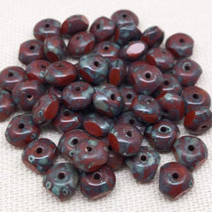 50 Red Picasso Czech Rondelle Glass Beads Tri Cut