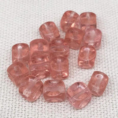 50 Vintage Peachy Pink Indented Cube Glass Beads