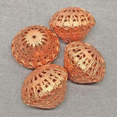 4 Vintage Large Copper Plated Filigree Beads