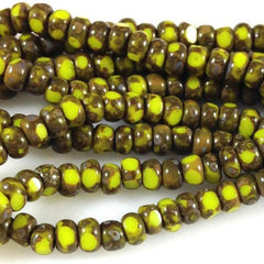 3 Strands Yellow Czech Picasso Glass Seed Beads Tri Cut