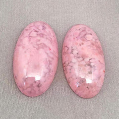 1 Vintage Handmade Mottled Pink Japan Oval Glass Cabochon