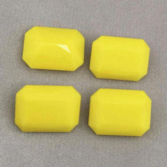 4 Vintage Lemon Yellow Octagon Glass Cabochons