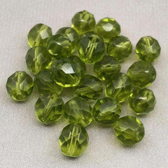 25 Translucent Olive Green Czech Faceted Glass Beads