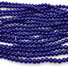100 Vintage Handmade Dark Blue Round Japan Glass Beads